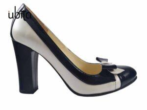 Pantofi dama albi cu toc gros din piele naturala la comanda V0676-Aliya