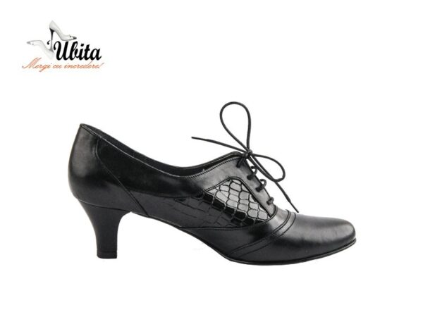 Pantofi fiice negri dama cu toc mediu si siret din piele naturala V0413-Joy