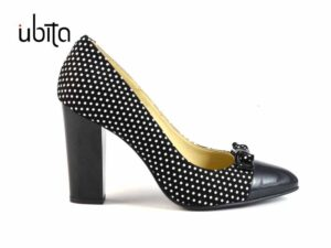 Pantofi cu buline dama si toc gros imbracat din piele naturala la comanda V0083F-Keira