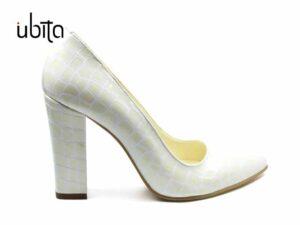Pantofi lac croco dama cu toc gros imbracat in piele naturala la comanda V0621-Lainey