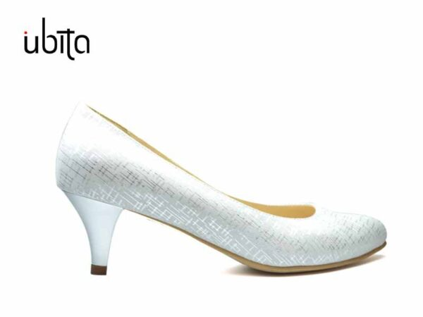 Pantofi albi cu toc mic din piele naturala la comanda FC0003-Jessie