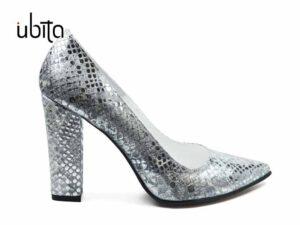 Pantofi dama argintii cu toc inalt gros din piele naturala la comanda V0621-Kelsey