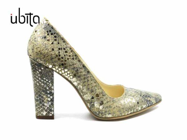 Pantofi aurii piele dama cu toc gros inalt la comanda V0621-Landry