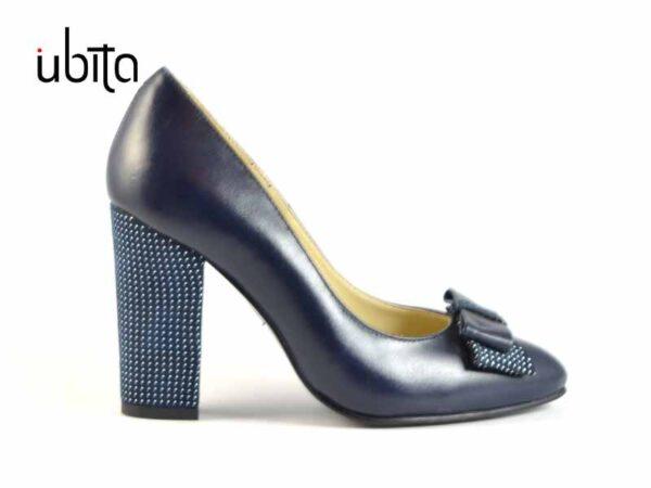 Pantofi dama bleumarin cu toc inalt gros din piele naturala la comanda V0081F-Katie