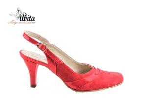 Pantofi sanda dama cu bareta la spate din piele naturala rosie la comanda V0562-Lexi