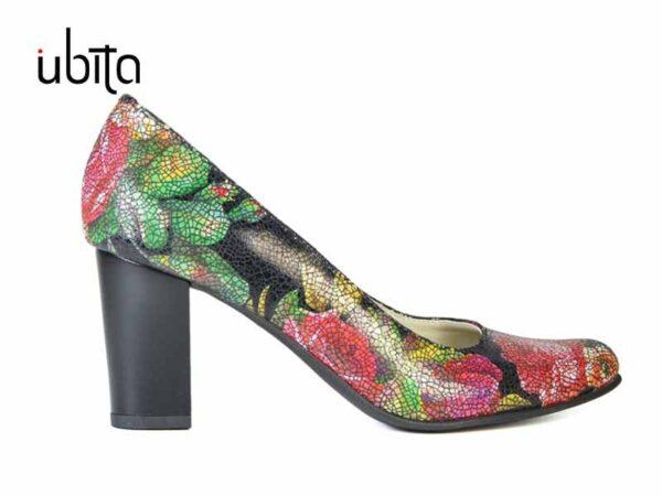 Pantofi dama colorati casual din piele naturala cu toc gros mediu V0373-Charli