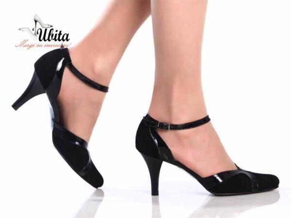Pantofi dama comozi cu toc mediu si bareta neagra din piele naturala la comanda V0465-Lia