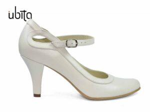 Pantofi dama crem cu bareta si toc mediu din piele naturala la comanda V0467-Mariah