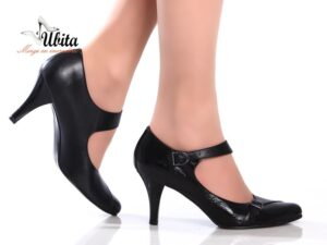 Pantofi dama negri cu toc mediu si bareta groasa din piele la comanda V0466-Liv