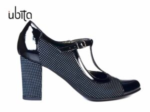 Pantofi cu toc mediu gros si bareta in T peste picior din piele naturala la comanda V0461-Ariana