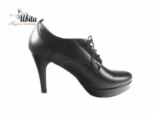 Pantofi cu platforma negri din piele naturala la comanda V0520-Miah