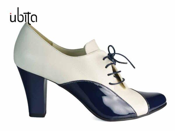 Pantofi de dama bleumarin cu toc gros si cu siret din piele naturala la comanda V0711-Daphne