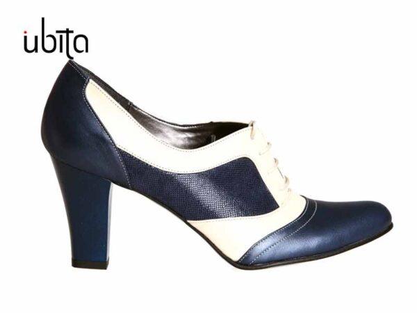 Pantofi dama bleumarin cu crem cu toc gros din piele naturala cu siret V0413-Lyra