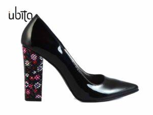 Pantofi dama lac cu toc gros inalt imbracat in piele naturala la comanda V0621-Laney