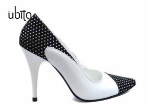 Pantofi Stiletto piele naturala alba cu buline la comanda VFC0039-Kimber