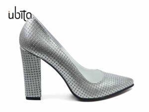Pantofi argintii dama cu toc inalt gros din piele naturala la comanda V0621-Kendra