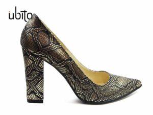 Pantofi dama eleganti de seara aurii din piele naturala cu toc gros la comanda V0621-Karina