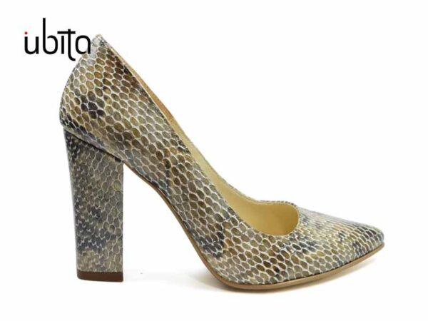 Pantofi dama cu imprimeu bej si toc gros imbracat realizati manual la comanda din piele naturala V0621-Karlie