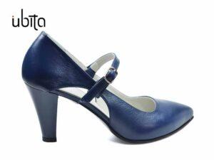 Pantofi dama bleumarin din piele naturala la comanda V0568-Kalani