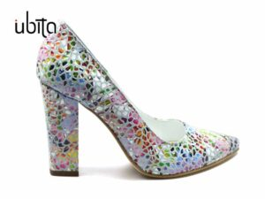 Pantofi dama colorati casual cu toc gros imbracat in piele naturala la comanda V0621-Kynlee