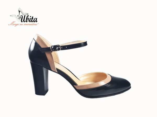 Pantofi negru cu bej dama si bareta peste picior din piele naturala la comanda V0050-Maia