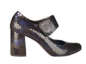pantofi dama cu bareta groasa din piele naturala bleumatin la comanda F0021-Olivia