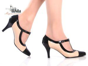 Pantofi dama cu bareta in T si toc mediu din piele naturala nude cu negru la comanda V0461-Amya