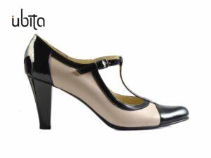 Pantofi cu bareta in T nude cu negru din piele naturala si toc mediu la comanda V0461-Liana
