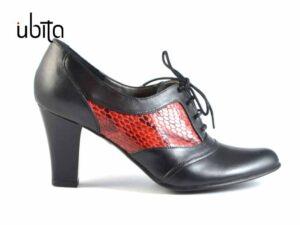 Pantofi cu siret si toc mediu gros dama din piele naturala V0413-Luna