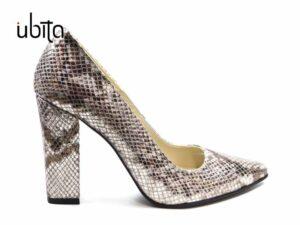 Pantofi dama eleganti de seara argintii din piele naturala la comanda V0621-Kamryn