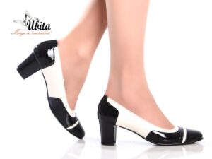 Pantofi dama alb negru piele naturala la comanda toc mic V0143-Aya