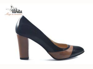Pantofi negri lac dama din piele naturala la comanda V0049-Macy