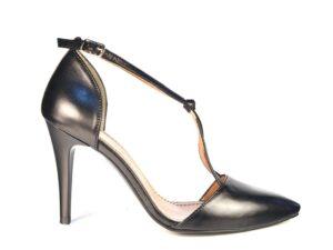Pantofi Stiletto decupati cu bareta in X din piele naturala neagra la comanda F0019-Nataly