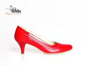 Pantofi dama cu toc mic rosii din piele naturala la comanda V0588-Ann