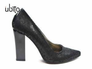 Pantofi dama negru cu toc din piele naturala si toc gros la comanda V0621-Kailyn