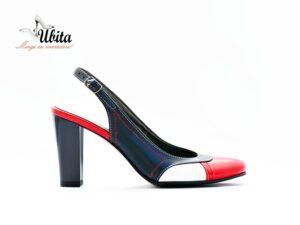 Pantofi cu toc gros inalt decupati din piele naturala bleumarin la comanda VA0149-Leia