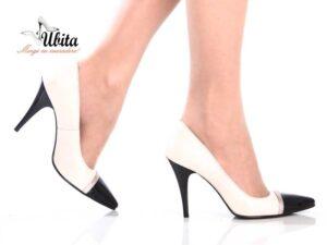 Pantofi Stiletto alb negru din piele naturala la comanda V0622-Ana
