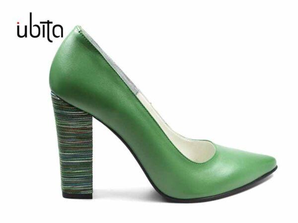 Pantofi verzi dama cu toc inalt gros din piele naturala la comanda V0621-Kamila