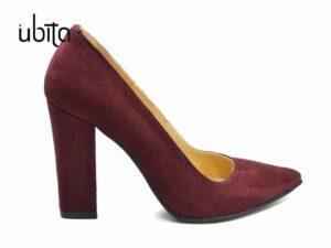 Pantofi dama piele intoarsa visinie cu toc gros imbracat la comanda V0621-Kailee