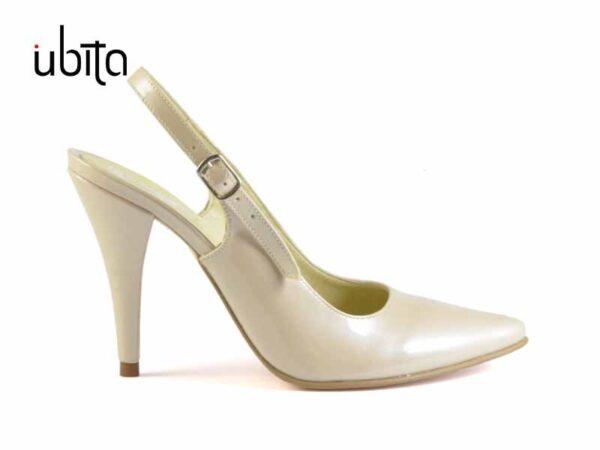 Pantofi dama lac crem decupati la spate din piele naturala la comanda V0657-Nylah