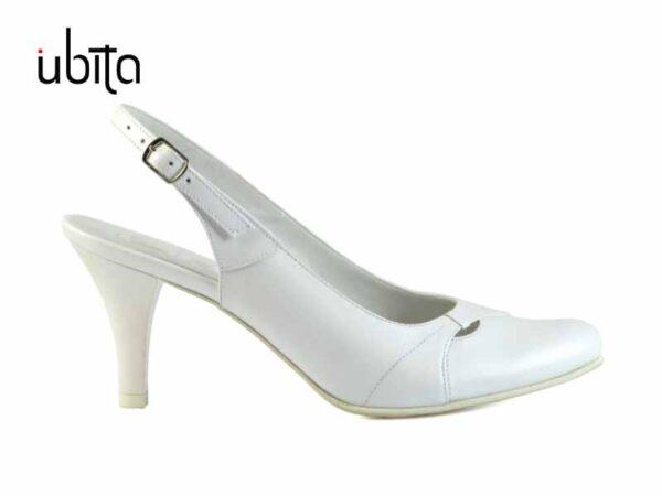 Pantofi cu bareta la spate de mireasa din piele naturala la comanda V0135D-Leila