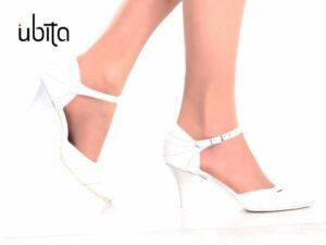 Pantofi de mireasa cu toc mediu din piele la comanda V0135A-Jemma