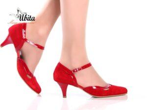 Pantofi dama eleganti rosii din piele intoarsa la comanda V0531-Nia