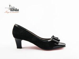 Pantofi dama cu toc mic din piele intoarsa naturala la comanda V0400-Kyra