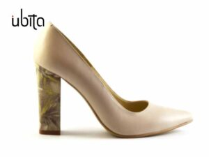 Pantofi dama crem nude cu toc gros imbracat in piele naturala cu imprimeu la comanda V0621-Lacey