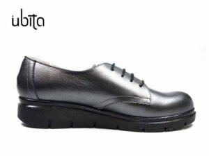Pantofi dama oxford gri metalizati din piele naturala la comanda VA0053-Isabel