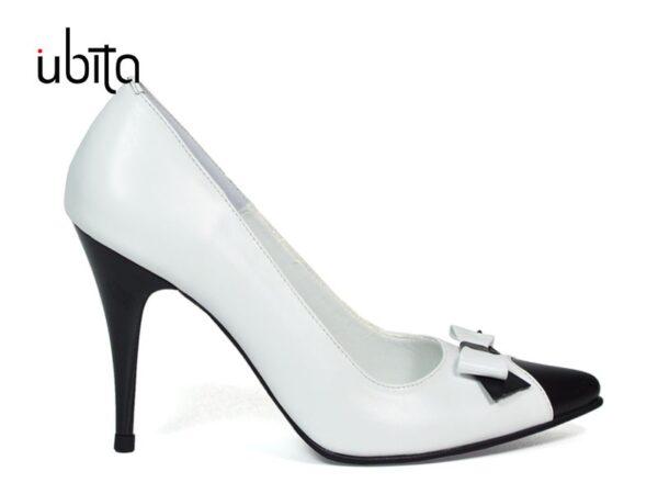 Pantofi Stiletto alb cu negru din piele naturala la comanda V0622-Alana