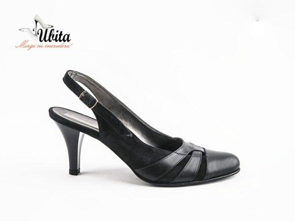 Pantofi dama decupati la spate din piele naturala la comanda V0441-Lara