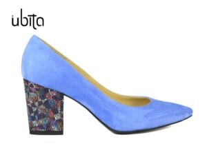 Pantofi dama albastri piele intoarsa cu toc gros la comanda F0008-Salma