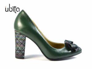 Pantofi verzi cu toc gros imbracat in piele naturala cu imprimeu la comanda V0269-Tessa